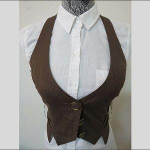 Sz M Brown Stripe XOXO Halter Juniors #630 Vest
